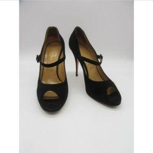 VALENTINO black suede mary jane peep-toe pumps